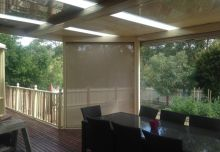 Custom downlight housing & full tracked blinds installed under one of our verandahs 2
