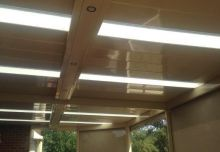Custom downlight housing & full tracked blinds installed under one of our verandahs