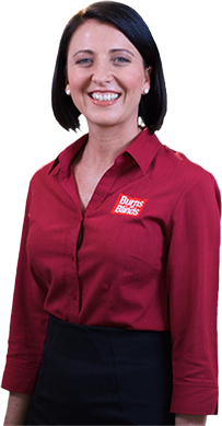 Photo of lady wearing Burns for Blinds uniform